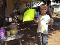Leif, our neighbor, selling fresh squeezed lemonade and attracting customers! What a successful business man this guys is!