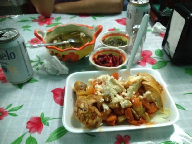 Enchiladas Mineras = enchiladas + carrots + potato + queso fresca + chicken leg on the side