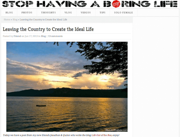 Life Out of the Box in Stop Having a Boring Life Blog