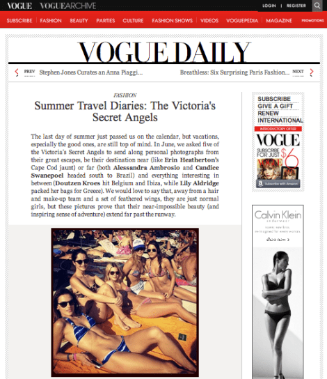 Life Out of the Box in Vogue on Alessandra Ambrosio