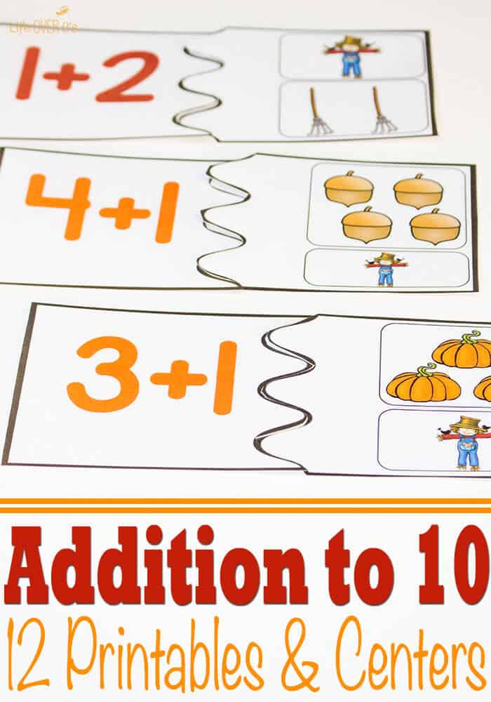 Fall Themed Addition To 10 Printables Amp Centers