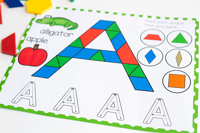 Free Printable Uppercase Alphabet Pattern Block Mats