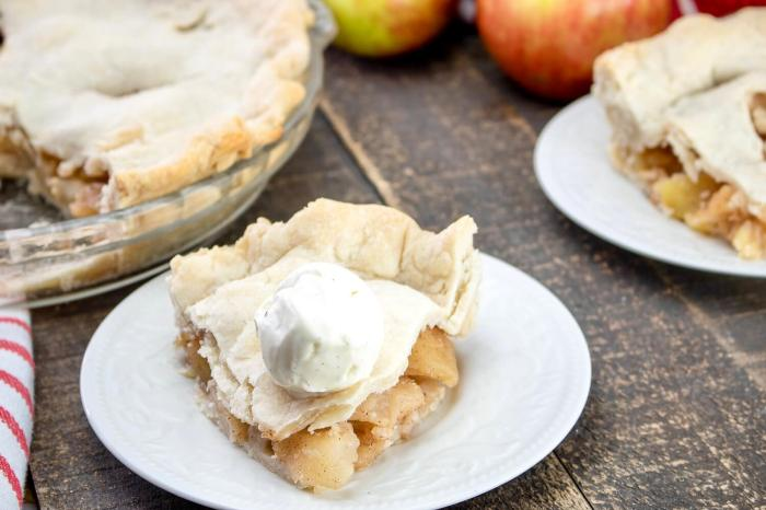 Slice of Apple pie on saucer with ice cream on top