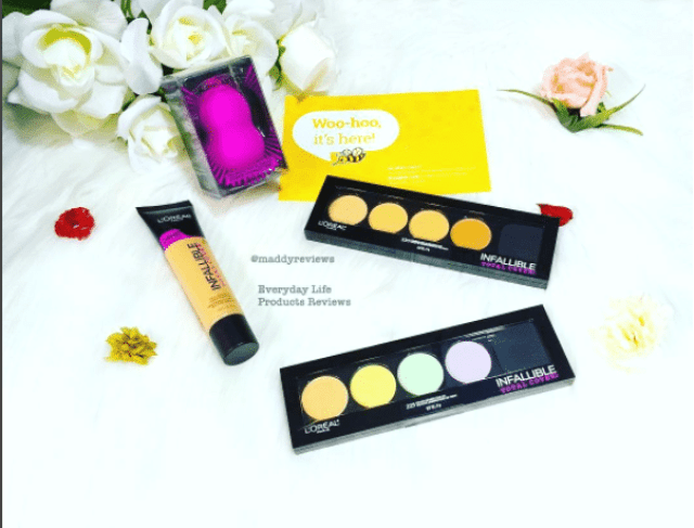 oreal Loreal infallible-total cover foundation 305-biege 225 color corrector contour kit bzzagent