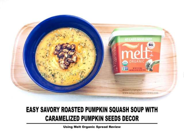 Easy Savory Roasted Pumpkin Squash Soup with Caramelized Pumpkin Seeds Decor Using Melt Organic Spread Review
