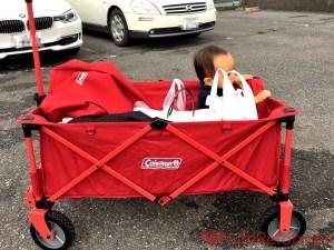 なぜもっと早くに買わなかったのか?『コールマン アウトドアワゴン』耐荷重が約100kgなので、荷物と子供を一緒に運べちゃうよ!