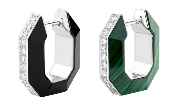 Grosgrain creoles set with malachites and onyx paved with diamonds
