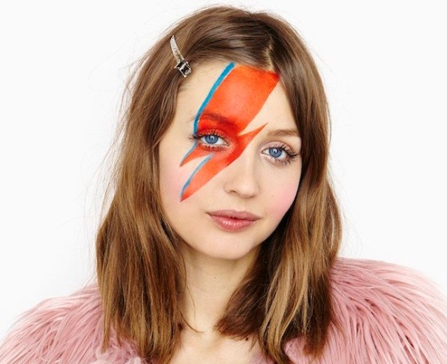 Woman with Ziggy Stardust Face Paint