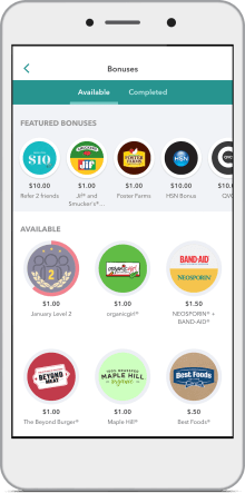 Screenshot of Ibotta bonuses you can earn by completing Walmart deals & offers in the app.