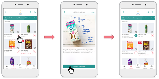 3 Phone Screens, showing the process of adding an Ibotta offer to your list.