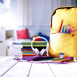 School supplies with a backpack