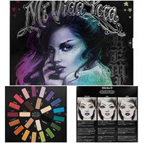 Eye shadow in Muse (lilac purple), Echo (purple glitter), Dark Wave (deep navy), Synth (electric blue), Hyperballad (sea blue), Lemmy (grass green), Misfit (kelly green), Vinyl (neon green), Legend (golden yellow), Fran (deep mustard yellow), Analogue (burnt orange), Harpsichord (metallic bronze), Rewind (aubergine), Destroyer (bright strawberry), Swoon (fuchsia), Love (shimmery rose), Anthem (purple), Vox (chocolate brown), Moulder (butter yellow), Noble (nude), Skulls (iridescent pearl), Black Metal (matte black), Lyric (white pearl), Strutter (taupe)