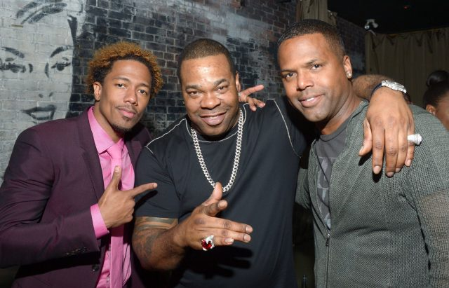 "TORONTO, ON - SEPTEMBER 11:  (L-R) Director/Actor/Producer Nick Cannon, musician Busta Rhymes,TV personality AJ Calloway attend the ""King of the Dancehall"" premiere screening party presented by Ciroc during the 2016 Toronto International Film Festival at EFS Lounge on September 11, 2016 in Toronto, Canada.  (Photo by Matt Winkelmeyer/Getty Images for Brilliant Consulting )"