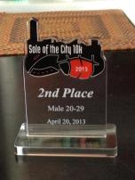 2nd Place Age Group at the Sole of the City 10K