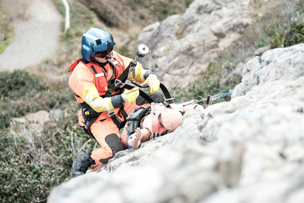 rescue work on cliff