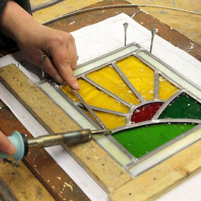 Soldering - Stained Glass workshop - Llandysul