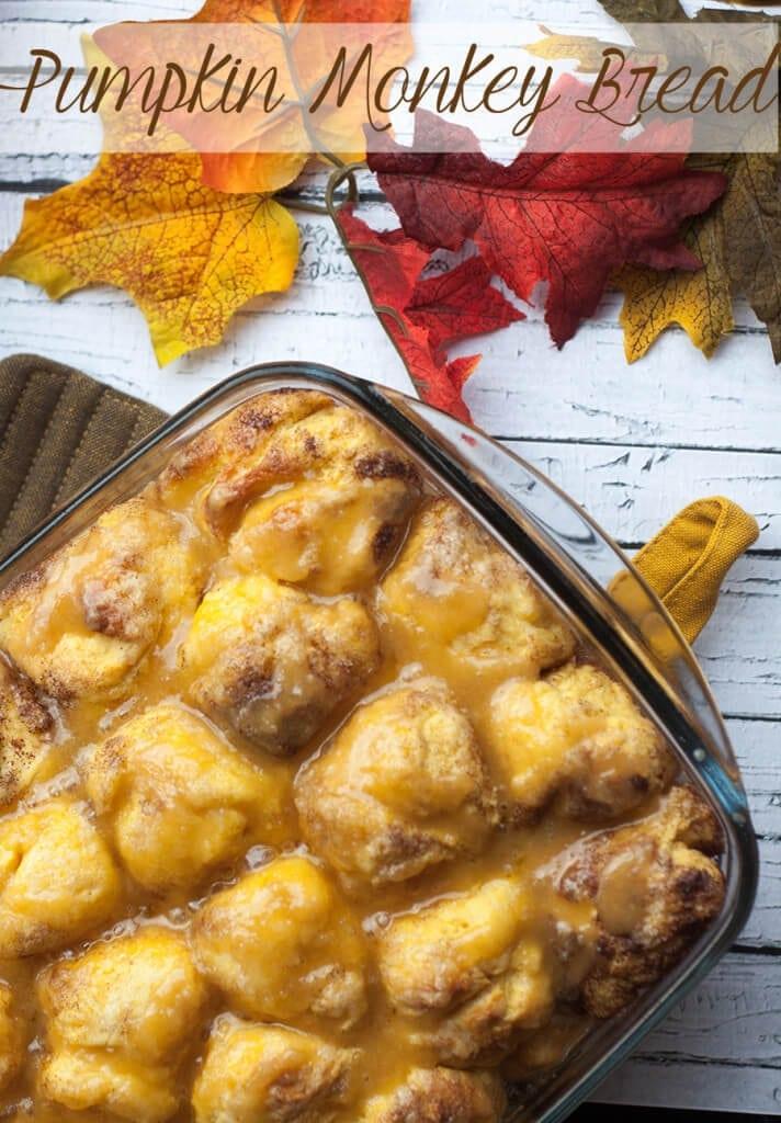 pumpkin monkey bread  with glaze for fall on Life Sew Savory