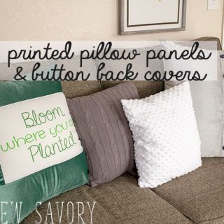 Seasonal Pillow Fabric Panels and Button Back Throw Pillow
