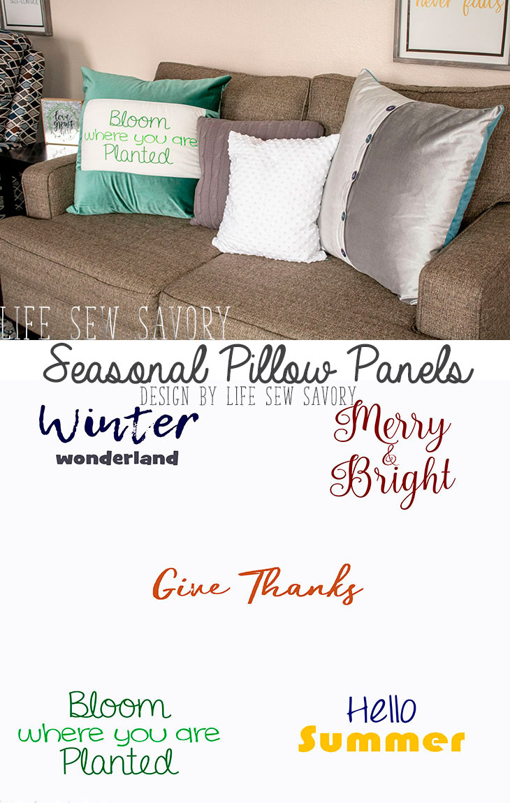 Seasonal Pillow Fabric Panels and Button Back Throw Pillow from Life Sew Savory