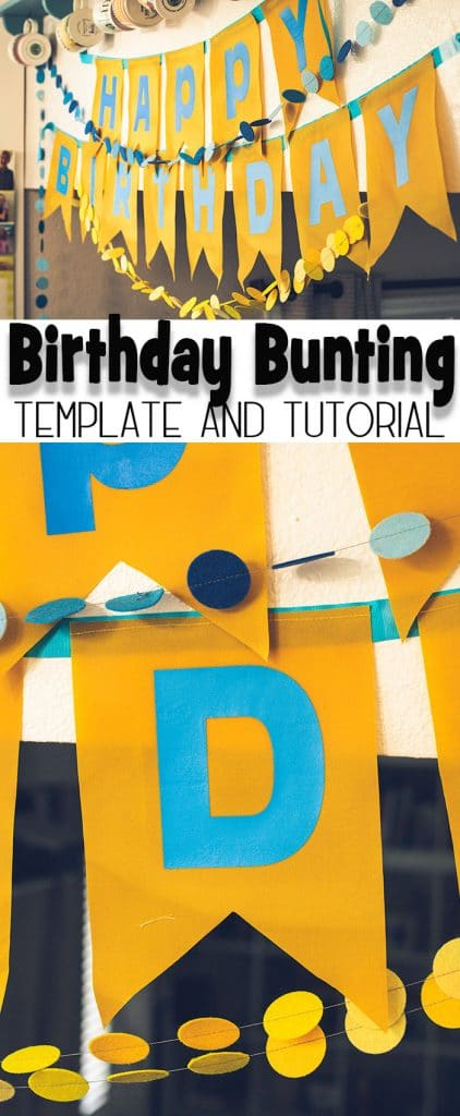 Cute birthday bunting and printable template from Life Sew Savory