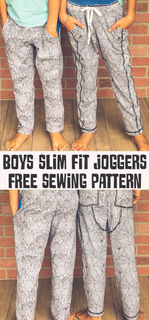 kids slim fit joggers free sewing pattern - unisex sweatpants pattern sizes 2-10 from Life Sew Savory