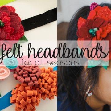 Felt Flower Headband tutorial flower hair clips from Life Sew Savory
