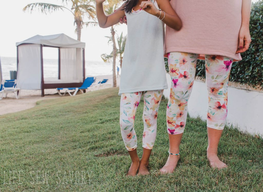 spring leggings with free patterns and fabric from Raspberry Creek Fabrics