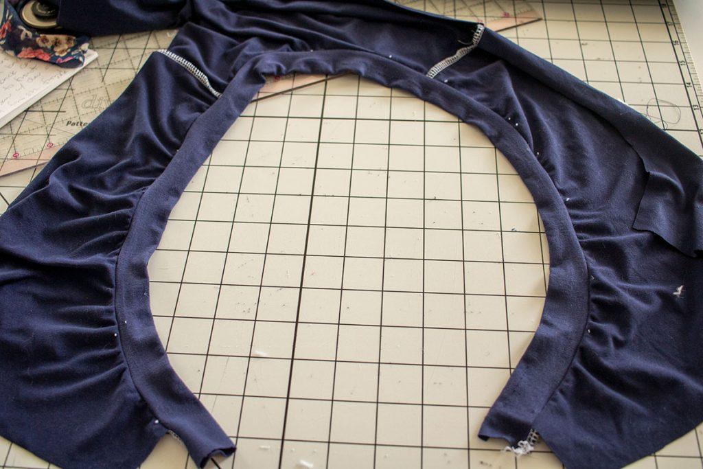 sew shoulder seams and binding