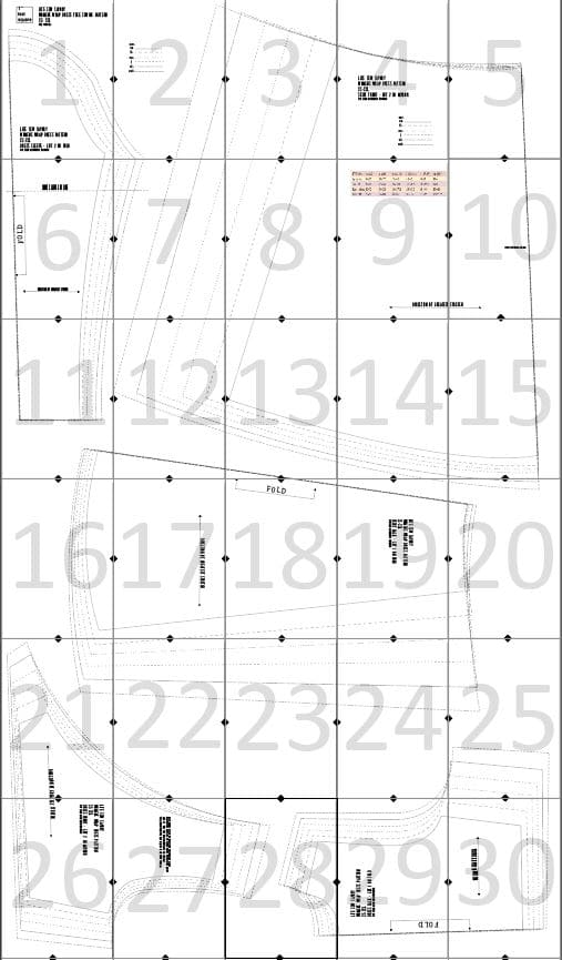 dress pattern layout