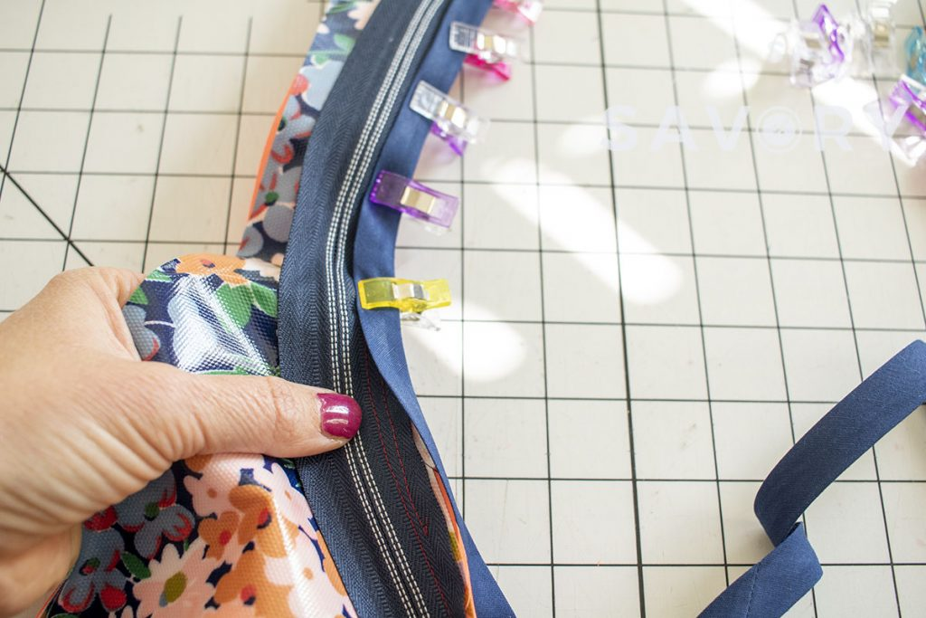 Zipper in backpack