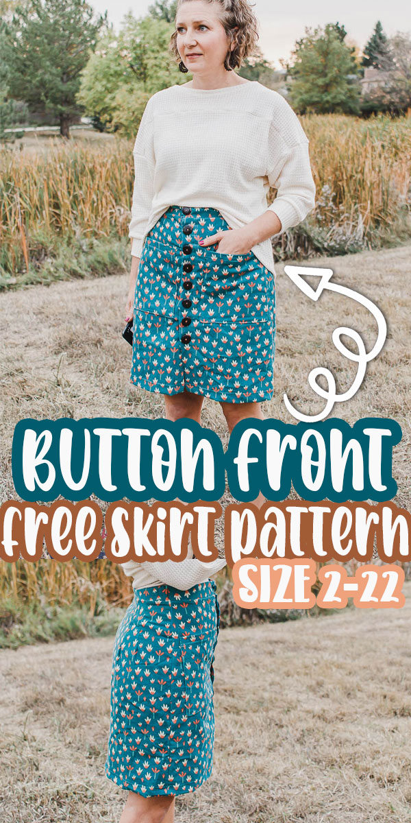 The womens version of the free corduroy skirt pattern with buttons. As promised, then matching womens version of the button front skirt. Now girls and women of all ages and sizes can wear this adorable skirt with this free sewing pattern.