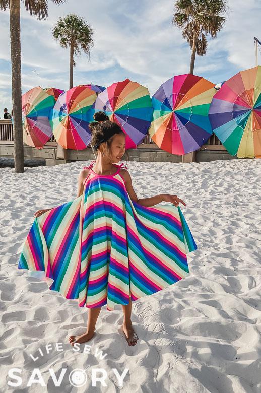 circle dress on a beach