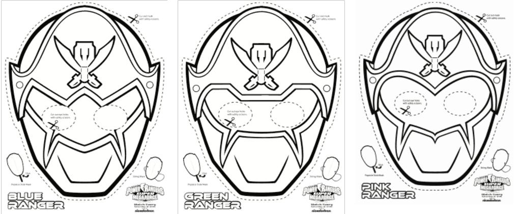 Super Mega Power Rangers Printable Coloring Masks Life