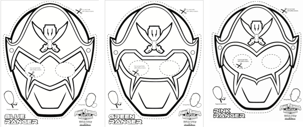 graphic relating to Power Ranger Mask Printable named Tremendous MEGA Electrical power Rangers Printable - Coloring Masks Everyday living