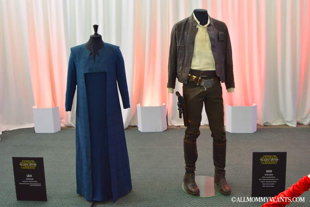 Leia and Han Solo's costumes. You can see the evolution not only of the status of Leia in the film, but also possible climate changes, as Han is now wearing a leather jacket as opposed to a vest. Leia's is more authoritative, giving the look of someone in charge.