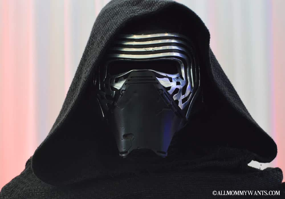 Close up of Kylo Ren's mask. Note the abrasions and indents in the leather mouth guard, a possible indication of Kylo being less attentive to details and a bit more physical than Vader was.