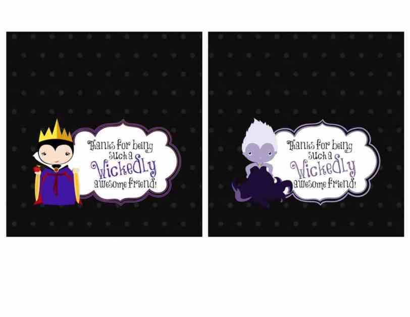 Party Favor Printables - Candy Bar Wrappers Featuring Disney Villains Evil Queen & Ursula