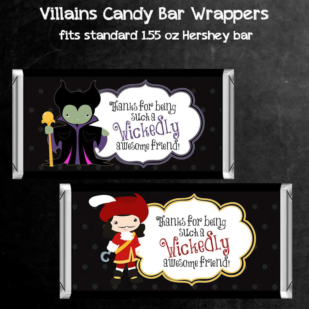 Party Favor Printables - Candy Bar Wrappers Featuring Disney Villains Maleficent & Captain Hook