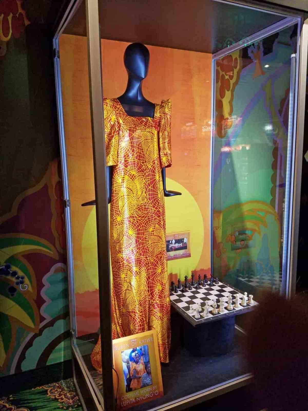 Ugandan dress worn by Lupita Nyong'o on display in the lobby of El Capitan Theater.