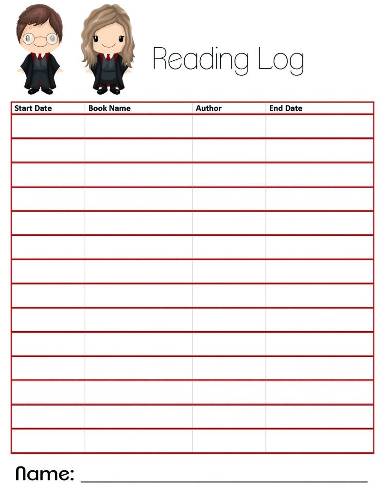 photo about Reading Log Printable identify Harry Potter Themed Looking at Log Reserve Examine Variety