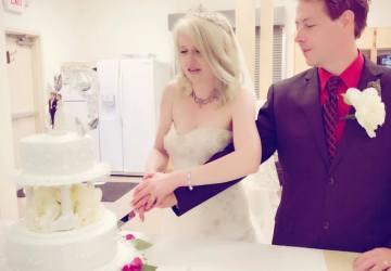 Cutting our wedding cake!