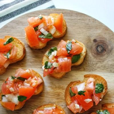 Tomato Bruschetta With Garlic and Basil