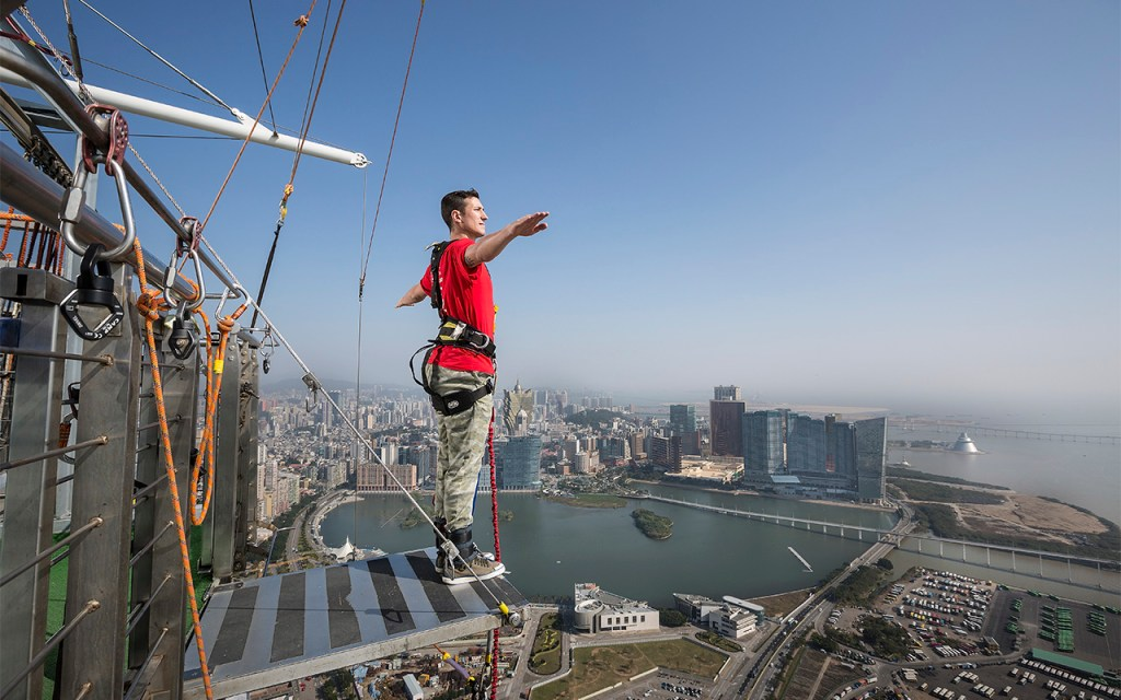 Experience the Guinness World Record highest commercial Bungy Jump in the world at The Macau Tower. The AJ Hackett Macau Jump is 233 metres or 764 feet high.