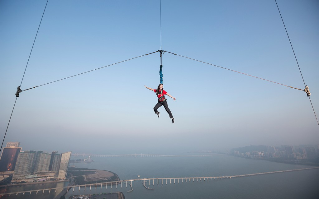 Get your adrenaline pumping! Looking for a rush? Experience the Sky Jump from the Macau Tower, China. Photo courtesy: AJ Hackett Bungy / Macau Tower