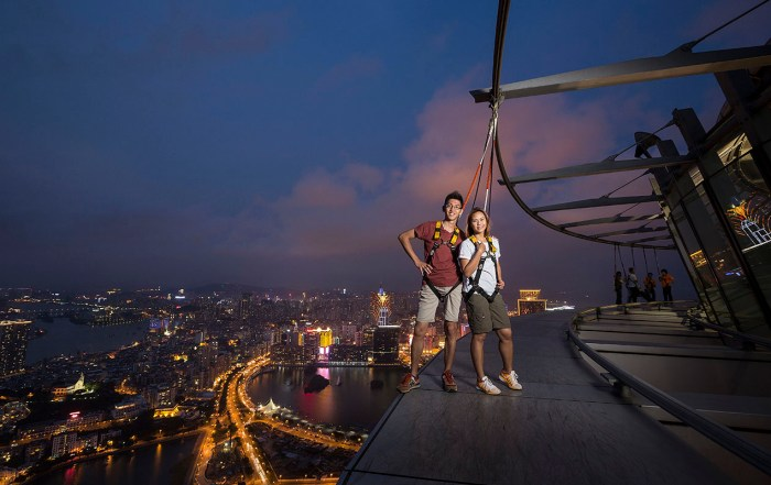 Get your adrenaline pumping! Looking for a rush? Experience the Skywalk from the Macau Tower, China. Photo courtesy: AJ Hackett Bungy / Macau Tower