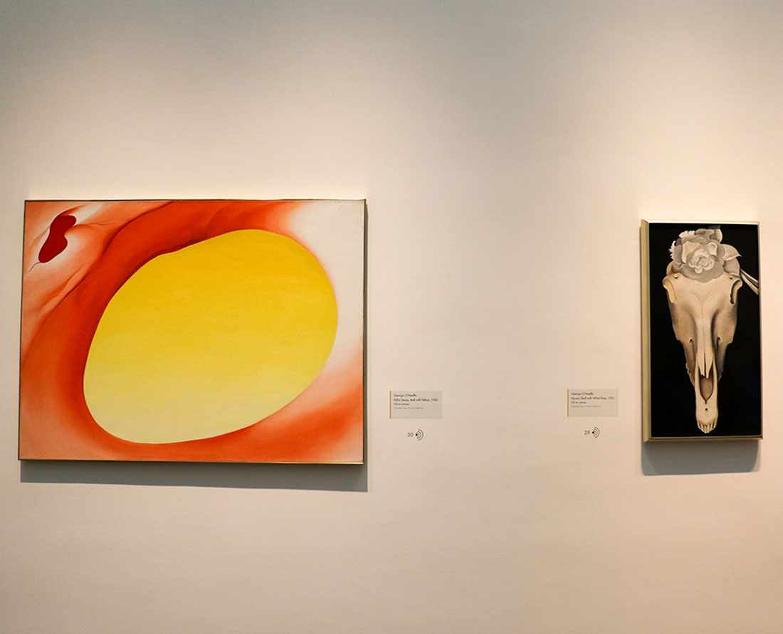Two examples of Georgia O'Keeffe's works of art hanging in the Georgia O'Keeffe Museum, Santa Fe, New Mexico.