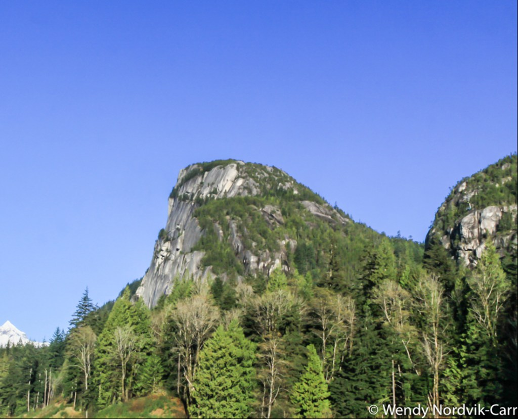 The stunning sheer face of the granite dome of world famous climbing mountain the Stawamus Chief. It is near Squamish, BC on the road to Whistler from Vancouver. Photo Credit: Wendy Nordvik-Carr©