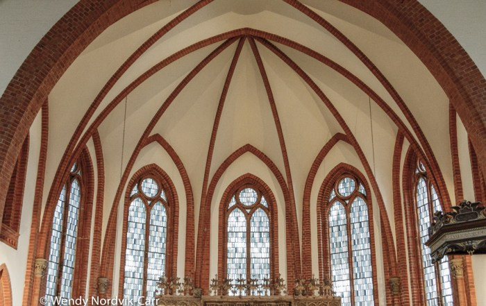 Warnemünde Church is built of brick in a neo-Gothic style. The building dates from 1866. It is a Lutheran church and because it is situated in a coastal area it has votive ships hanging inside. Photo Credit: Wendy Nordvik-Carr