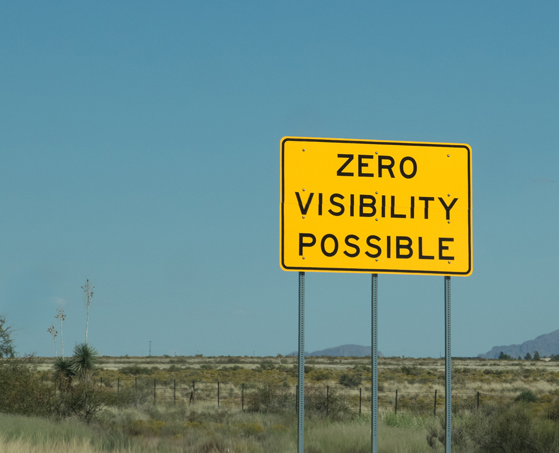 Use caution while driving along the highway in this area. Zero visibility is possible when the winds whip up carrying the fine white sand from the largest Gypsum dunes in the world, White Sands, New Mexico.