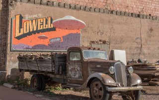 Explore historic Lowell, Arizona, a well-preserved historic area with vintage cars, Indian Motorcycles, stores and gas station from the 1950s. Photo Credit: Wendy Nordvik-Carr